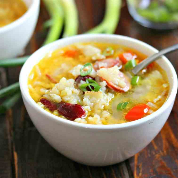 Quick Cajun Style Red Bean - Rice Soup