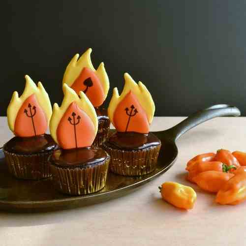 Chocolate Devil's Fire Cupcakes