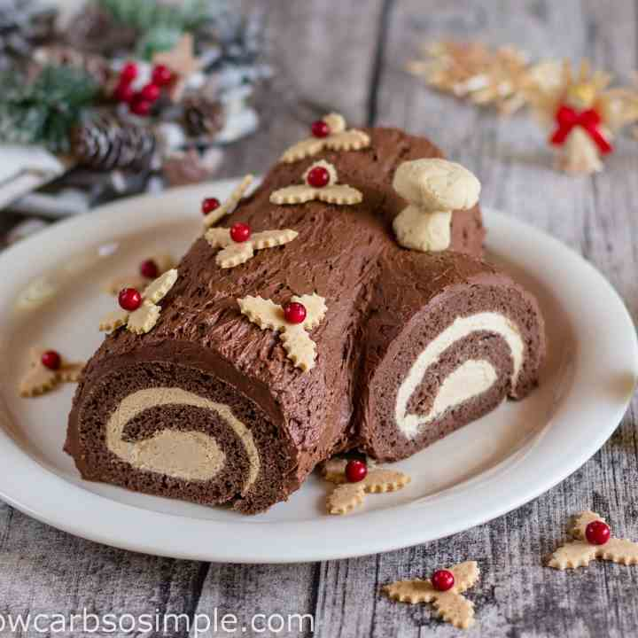 Low Carb Yule Log Cake