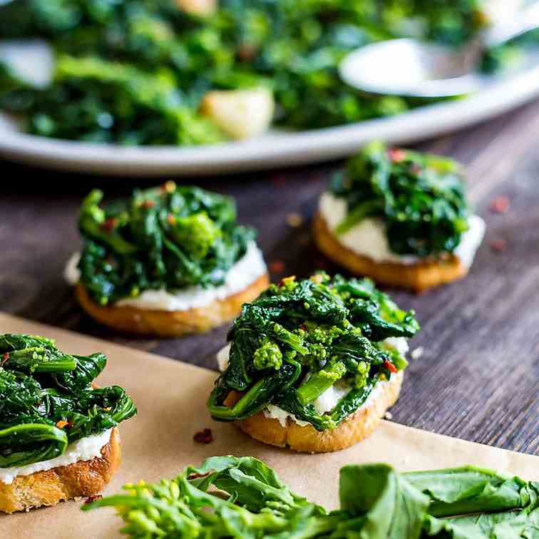 Broccoli Rabe and Ricotta Crostini