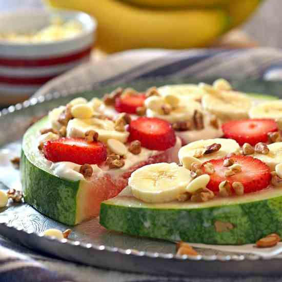 Banana Cheesecake Watermelon Pizza