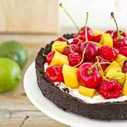 No bake fruit and cocoa cheesecake