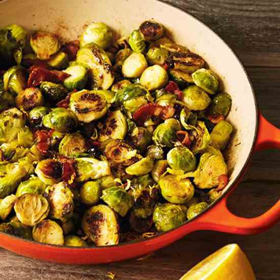 Caramelized Brussels Sprouts with Bacon, L