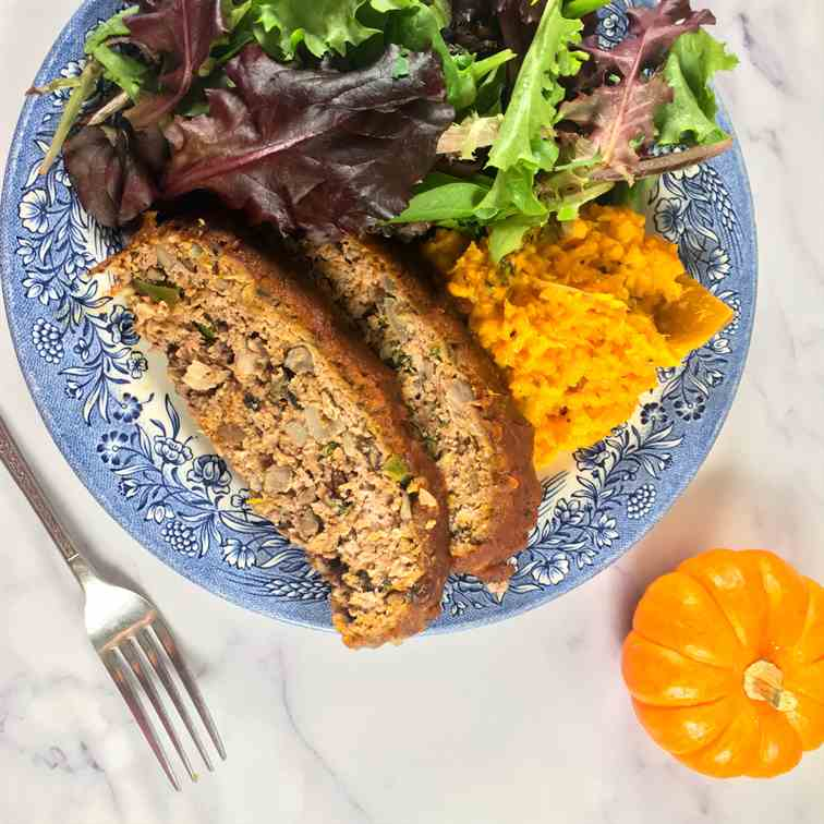 Pumpkin Barbecue Meatloaf w-Sweet Potatoes
