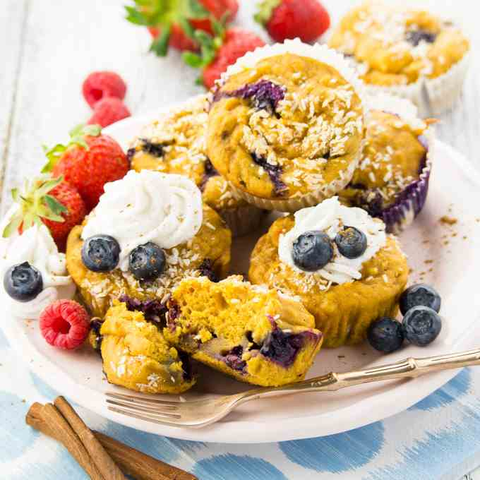 Sweet Potato Muffins with Blueberries