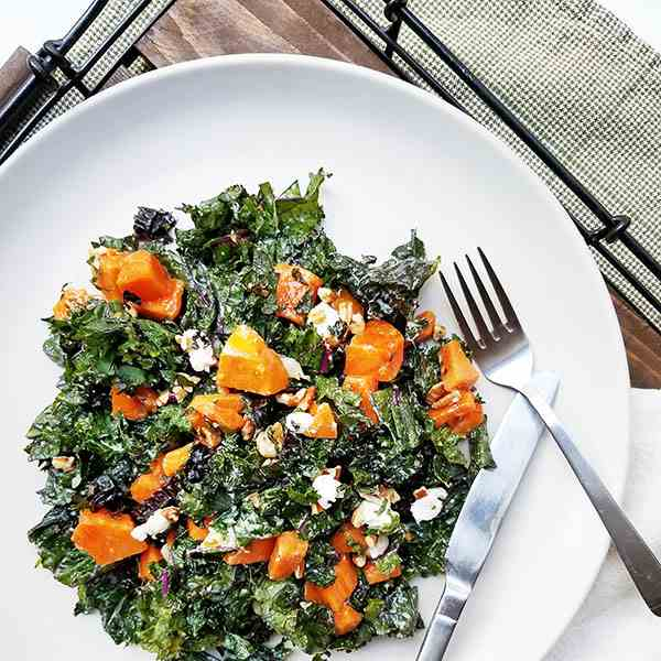 shredded kale and persimmon salad