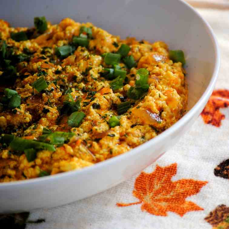 Cottage Cheese scramble; Indian Style