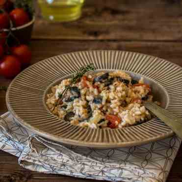 Risotto with scamorza and olives