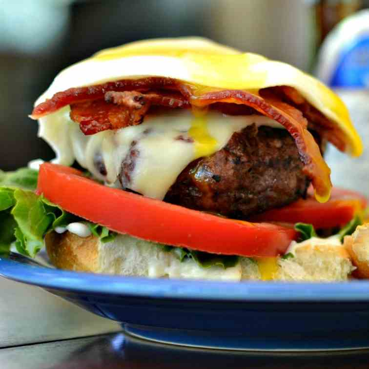 Egg Burger with Bacon and Chipotle Mayo