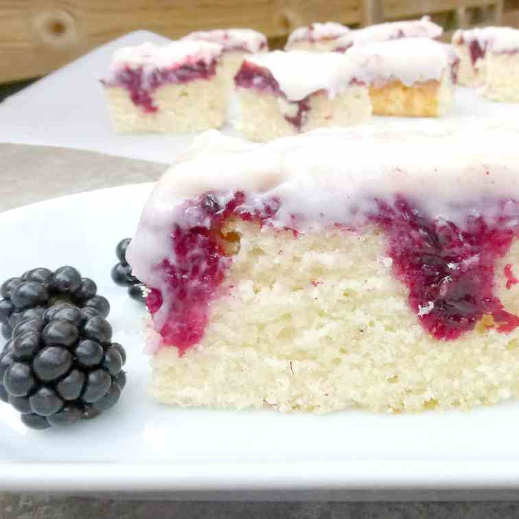 Blackberry and White Chocolate Poke Cake