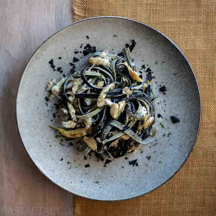 Squid Ink - Lemon Linguine with Whitebait