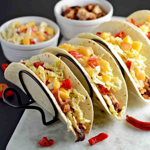Fish Tacos with Peach Slaw