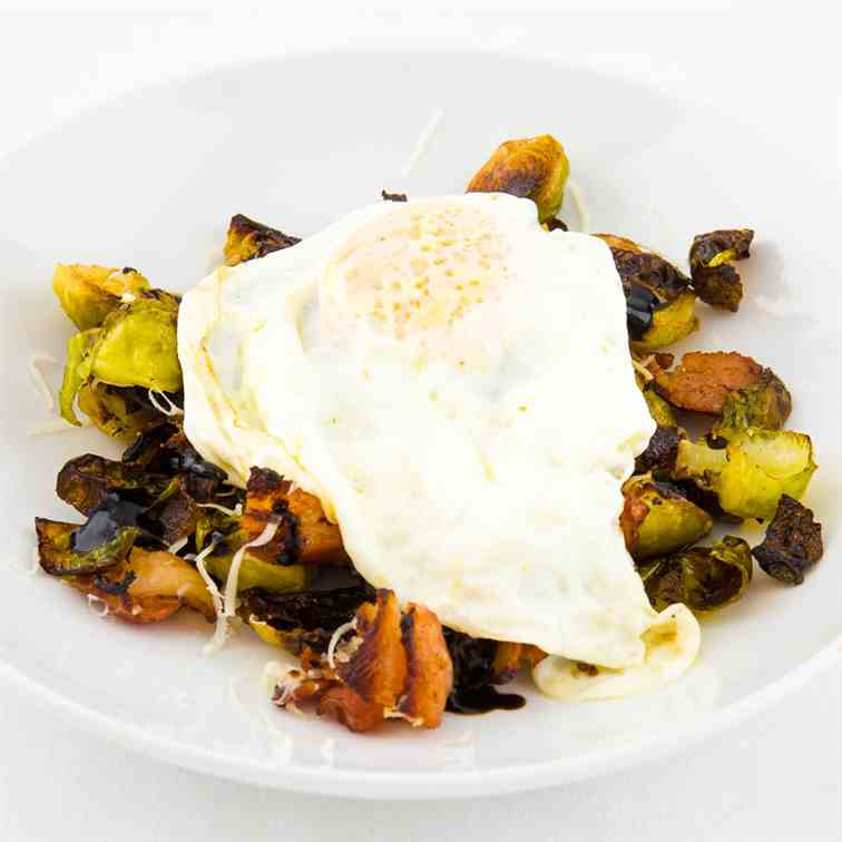 Brussels sprouts - bacon - egg-