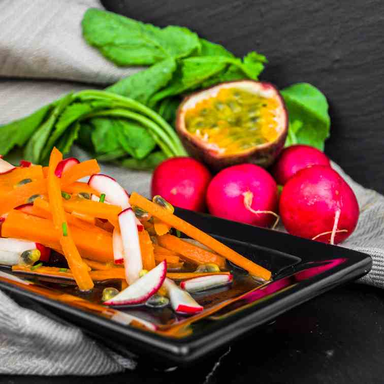 Carrot and radish salad with passion fruit
