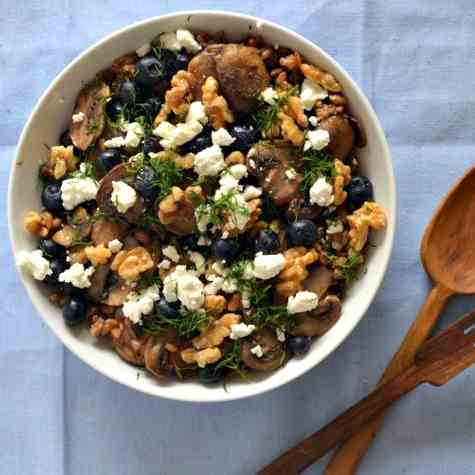 Rye Berry Salad with Mushrooms and Herbs