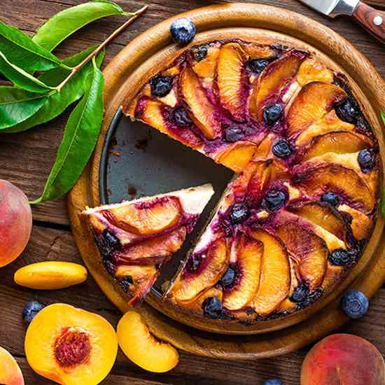 Roasted Peach and Goat Cheese Cheesecake