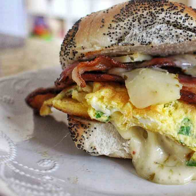 Egg Sandwich. Pepper Jack - Smoked Bacon