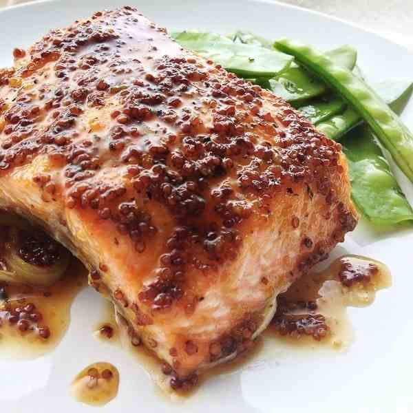 Mustard Brown Sugar Glazed Salmon