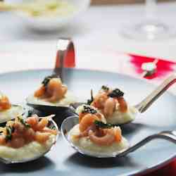 Prawns on fennel puree