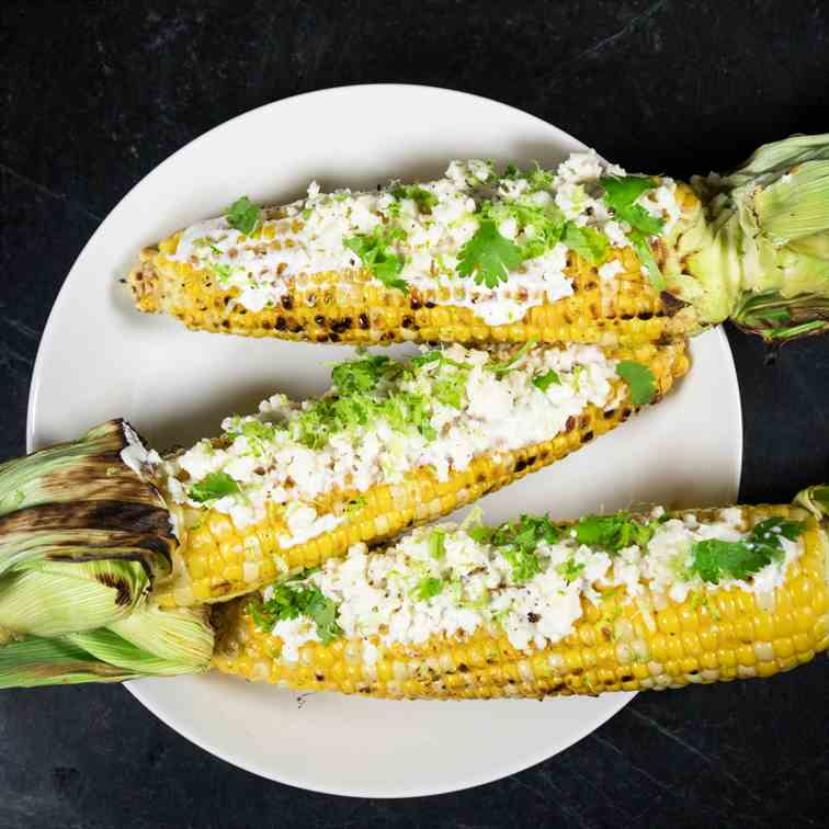 Grilled Corn with Cilantro and Queso Fres