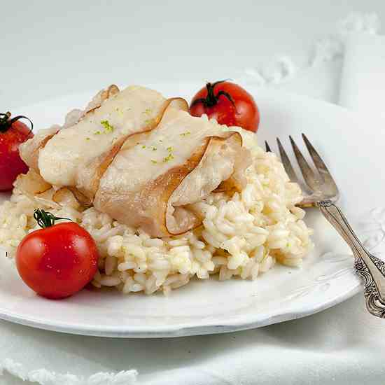 Bacon-wrapped cod with lime risotto