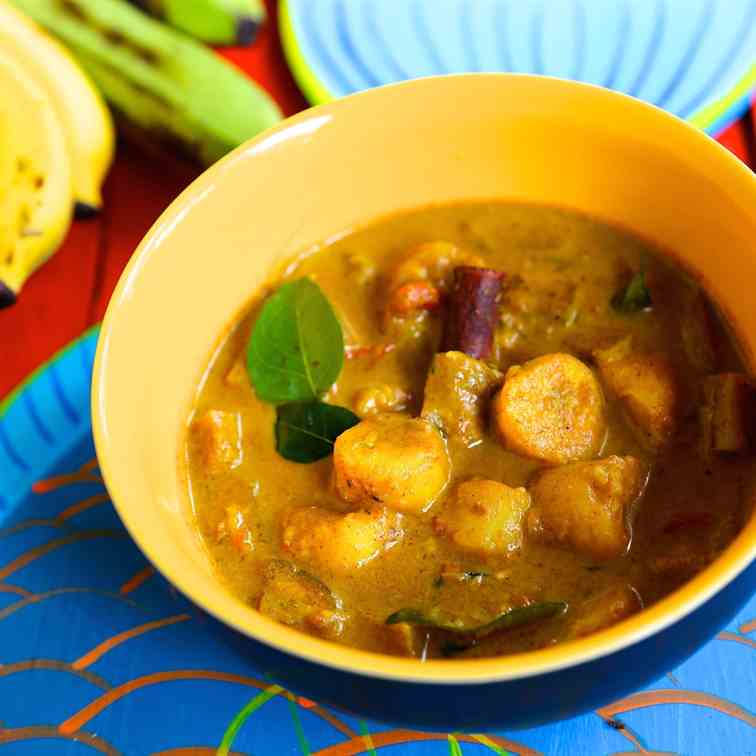 creole banana and eggplant curry