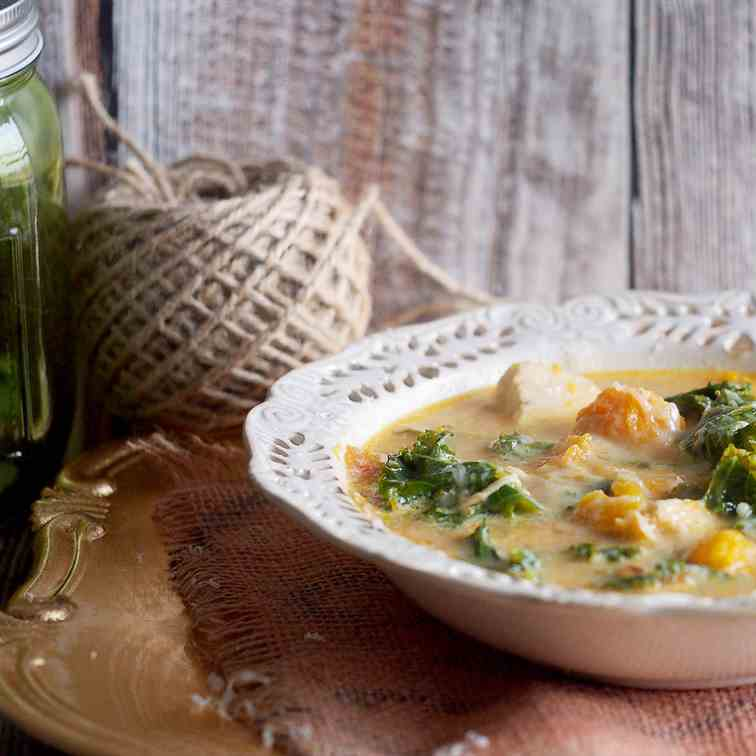 Chicken, pumkin and kale soup