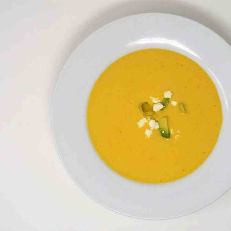 Chilled Corn Soup with Avocado and Feta