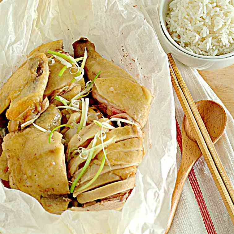 Hakka Salted Steamed Chicken (客家盐鸡)