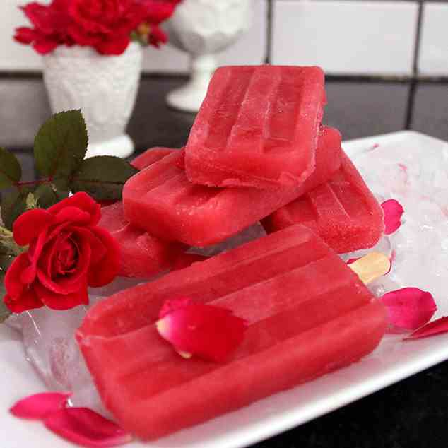 Raspberry and Rosewater Ice-pop