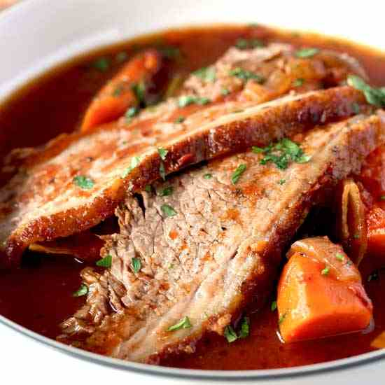 Beer Braised Brisket with Vegetables