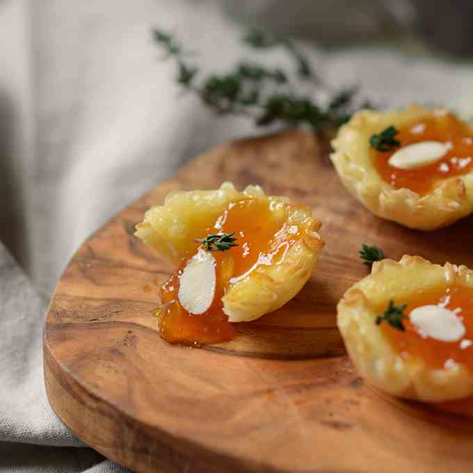 Almond Apricot and Brie Cups