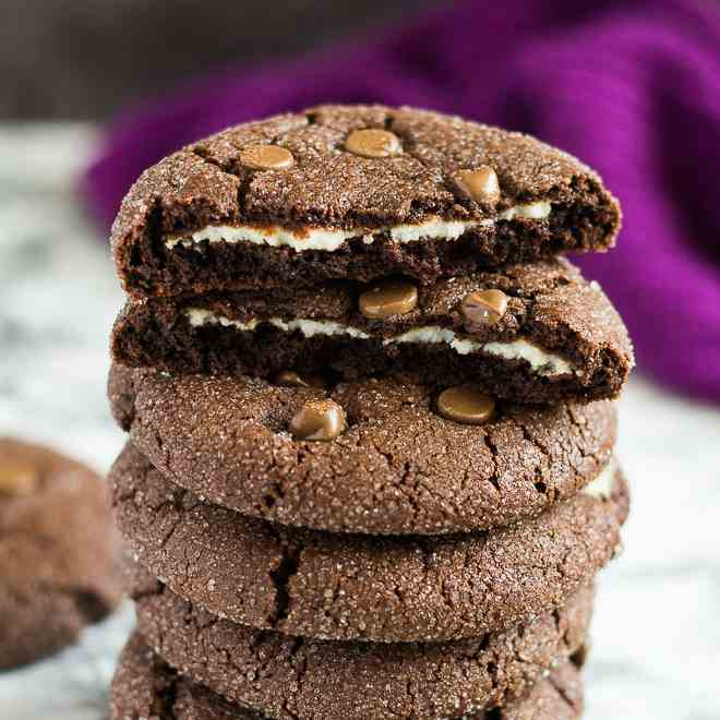 Cheesecake Stuffed Double Chocolate Cookie