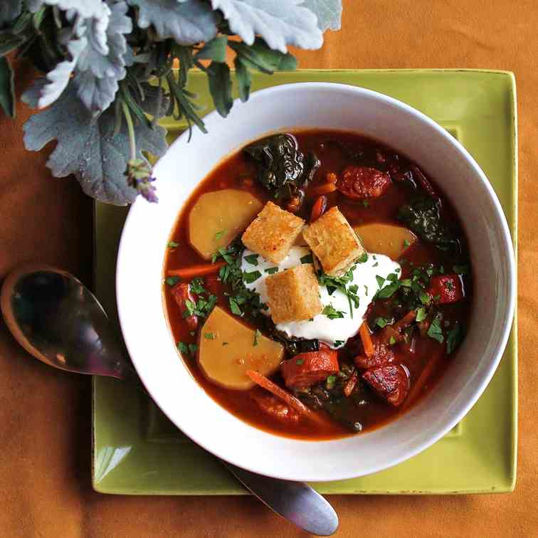 Spanish Chorizo and Kale Soup
