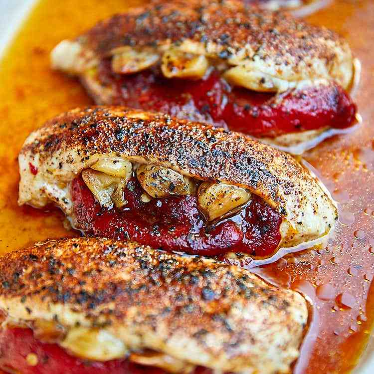 Pepper - Garlic Stuffed Chicken Breast