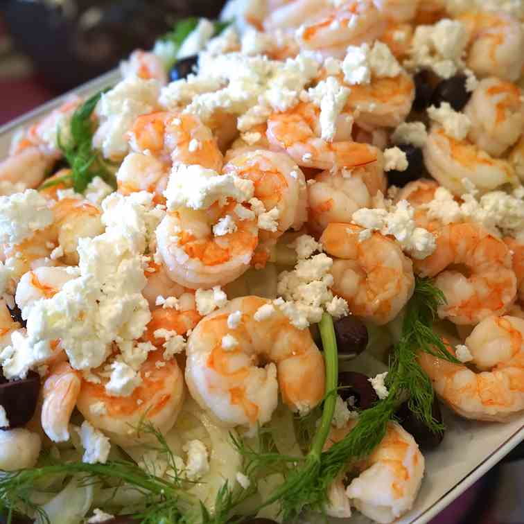 Shrimp Salad with Feta Cheese and Olives