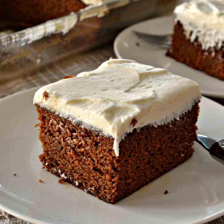 Gingerbread Cake with Cream Cheese Frostin