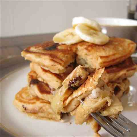 Chocolate Chip Banana Pancakes for One