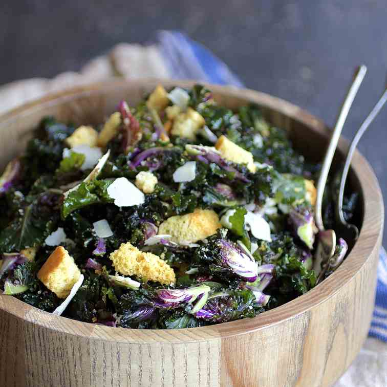 Massaged Kale Sprout Caesar Salad