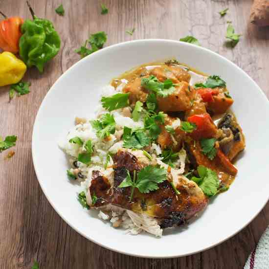 Jerk Roasted Chicken with Coconut Curry
