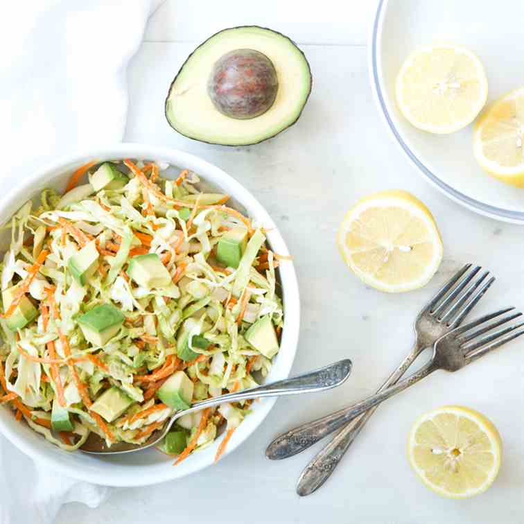 6-ingredient Vegan Avocado Cabbage Slaw