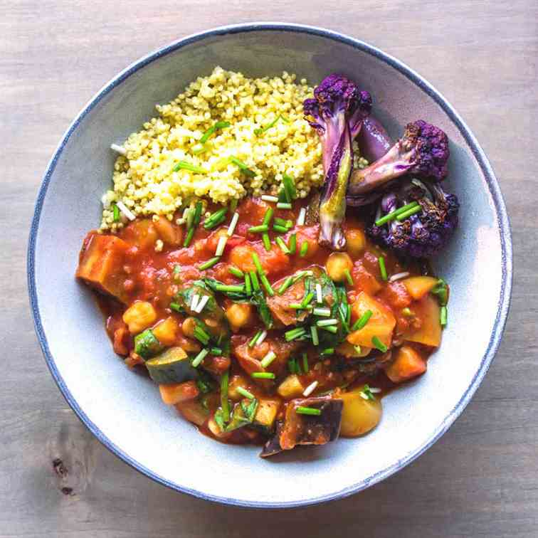 Easy Eggplant and Chickpea Stew (vegan - g