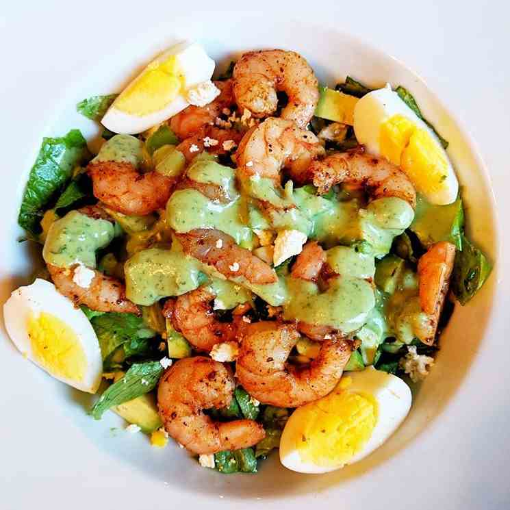 Shrimp And Avocado Salad With Goddess Dres