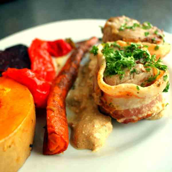 Colorful roasted Vegetables with Pork Fill