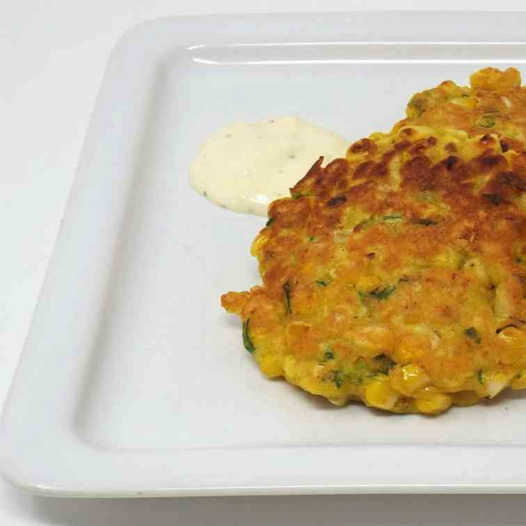 Curry Corn Fritters with Garlic Lime Aioli