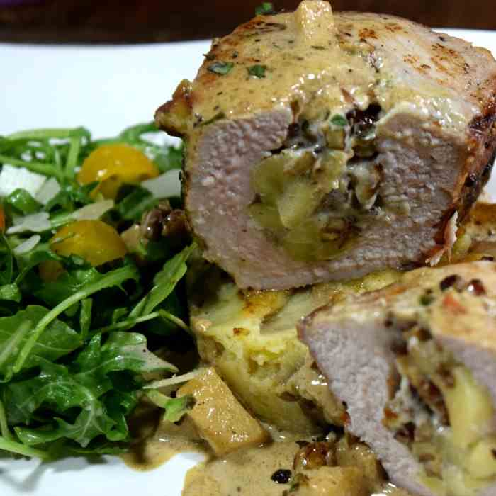 Apple Stuffed Pork Chops with Bleu Cheese