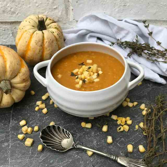 Easy Pumpkin and Sweetcorn Soup