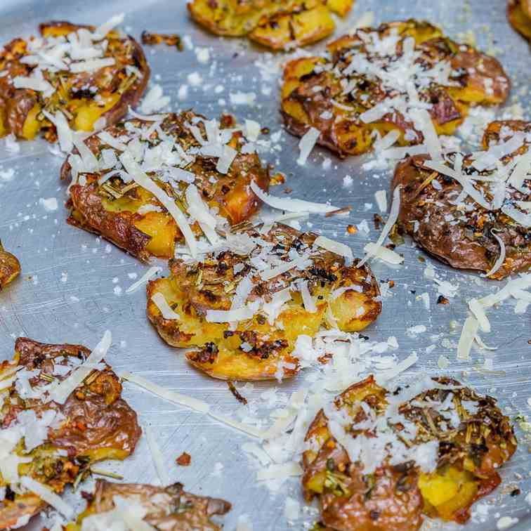 Roasted Smashed Potatoes With Parmesan
