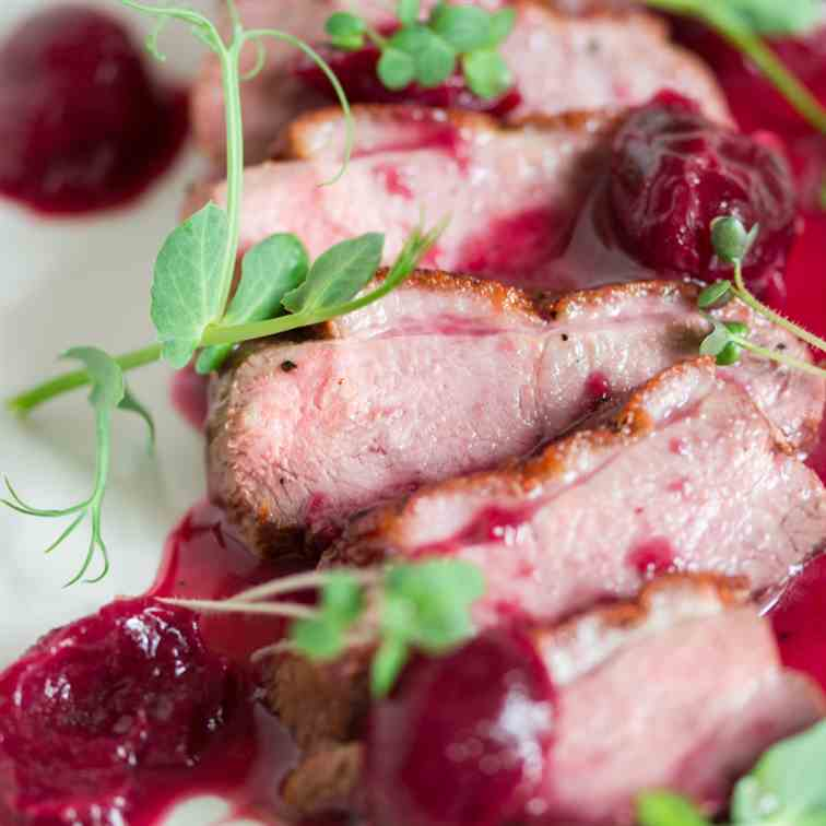 Duck Breast with Wine-Cherry Sauce