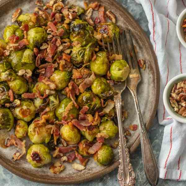 Bacon Pecan Balsamic Brussels Sprouts